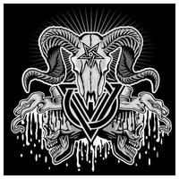 grunge ramskalle med treenighetssymbol och pentagram vektor
