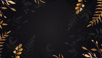 gyllene blomma på svart bakgrund guldblad vektor