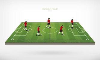 fotbollsspelare på fotbollsplan som svävar på vitt vektor