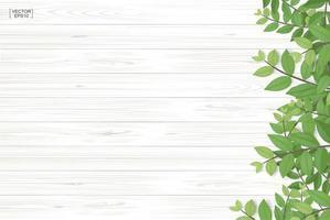 Holzstruktur mit grünen Blättern entlang der rechten Grenze vektor