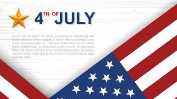 4 juli affisch med vinklad amerikansk flagga på vitt trä