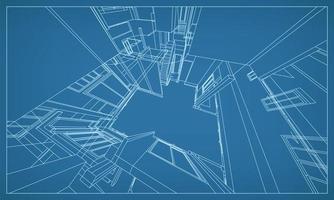 3D-perspektivisches Rendern des Gebäudedrahtrahmens vektor