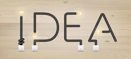 Ideentext aus Glühbirnen und Schaltern vektor