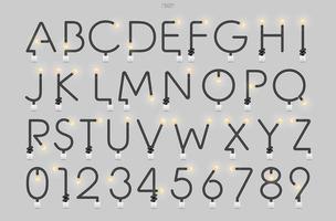 glödlampa och alfabetet för ljusbrytare på betongväggen vektor