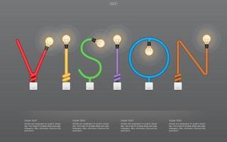 bunter Visionstext aus Glühbirnen und Schaltern vektor