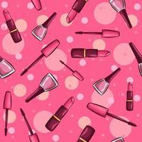 skönhet sömlösa mönster med olika kosmetiska produkter vektor