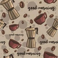 brunt sömlöst mönster med kaffe vektor