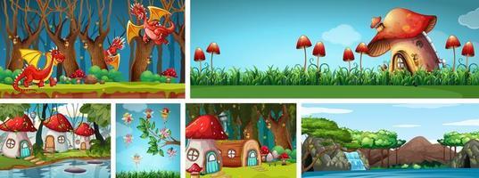 sex olika scener av fantasivärlden