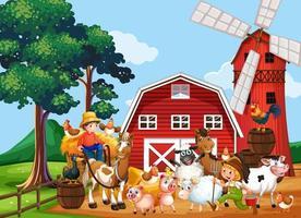 gårdsplats med väderkvarn och ladugård och djur