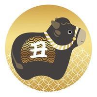 Jahr des Ochsen japanische Maskottchen Runde Ikone vektor