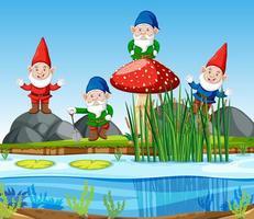 Gnomengruppe, die neben Sumpf im Karikaturstil steht