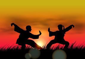 Paar macht Wushu bei Sonnenuntergang