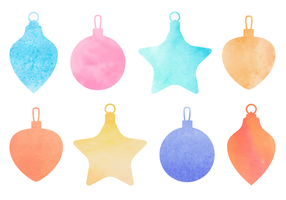 Gratis vattenfärg Jul Baubles Vector