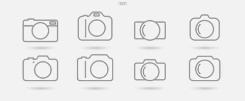 kameratecken och symboluppsättning vektor