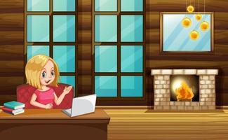 scen med kvinna med på datorn hemma