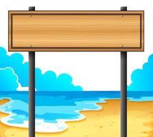 ein leeres Holzschild am Strand vektor