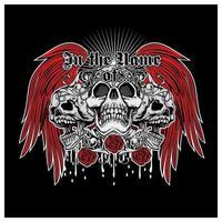 grunge skalle med röda ängelvingar och rosor vektor