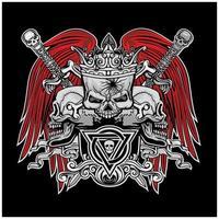 grunge skalle med röda vingar och svärd vektor