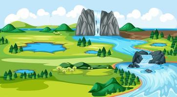 Wiesenpark mit Wasserfall Flussseitenlandschaft