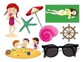 uppsättning sommar strand ikon och barn tecknad stil