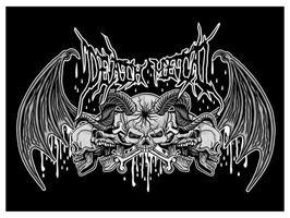 Grunge-Schädel mit Fledermausflügeln