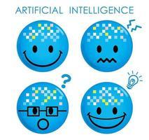 künstliche Intelligenz blaues Emoji-Set vektor