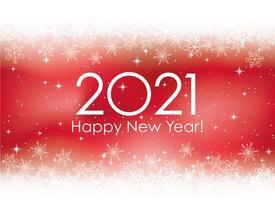 Nyårskortmallen 2021 med snöflingabakgrund vektor