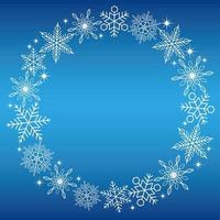 runder Schneeflockenrahmen auf blauem Hintergrund vektor