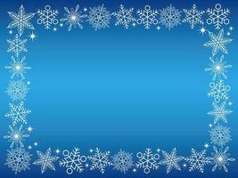 rechteckiger Schneeflockenrahmen auf blauem Hintergrund vektor