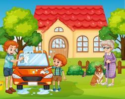 scen med människor som stannar utanför hemmet med familjen