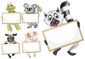 leere Zeichenvorlage mit niedlichen Tieren eingestellt