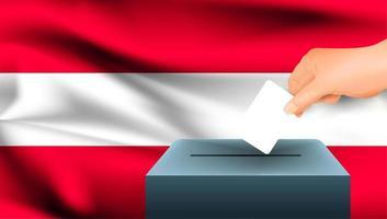 Hand, die Stimmzettel in Box mit österreichischer Flagge setzt