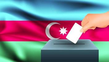 Hand, die Stimmzettel in Box mit aserbaidschanischer Flagge setzt