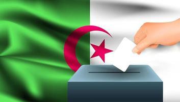 Hand, die Stimmzettel in Box mit algerischer Flagge setzt