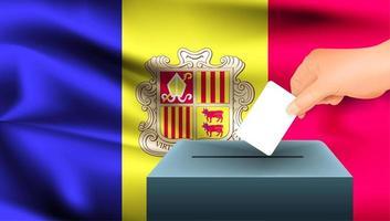 Hand, die Stimmzettel in Kasten mit andorranischer Flagge setzt