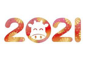 nytt år 2021 design med japanska traditionella mönster vektor
