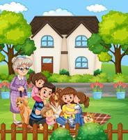 Szene mit Leuten, die mit der Familie draußen zu Hause bleiben
