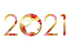 nytt år 2021 design med japanska traditionella mönster