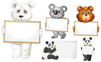 leere Zeichenvorlagen mit Tieren auf Weiß vektor