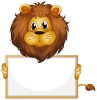 leere Zeichenvorlage mit Löwe auf Weiß vektor