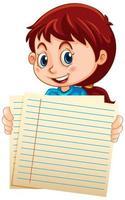 tomma papper med flickan på vitt