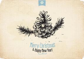 Weinlese-Weihnachtskiefer-Vektor
