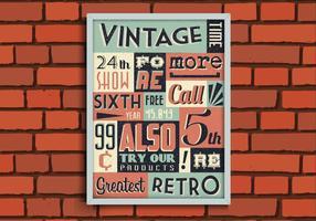 Weinlese-Plakat auf Ziegelstein-Wandvektor