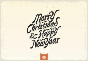 God jul och gott nytt år vintagevektor vektor