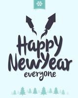 Winterlich Happy New Year Vector