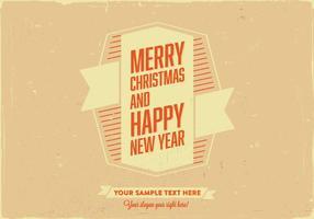 God jul och gott nytt år retro kort vektor
