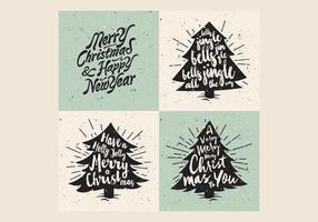 Retro Weihnachtsbaum-Beschriftungs-Vektor