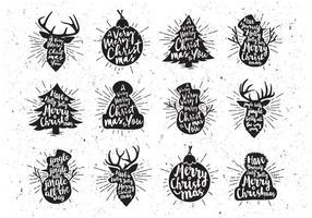 Schwarz-Weiß-Weihnachts-Icon-Vektor