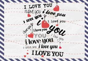 Ich liebe dich Postkarten-Vektor