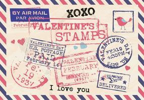 Valentinsgruß-Briefmarken-Weinlese-Postkarten-Vektor